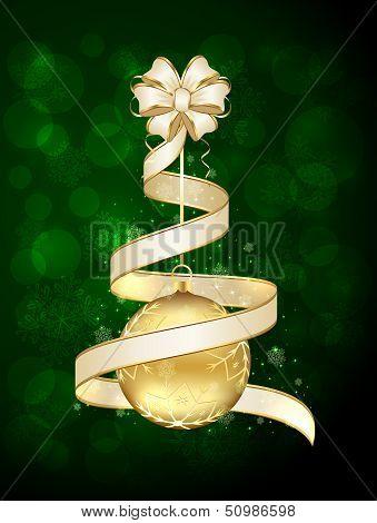 Christmas ball and ribbon
