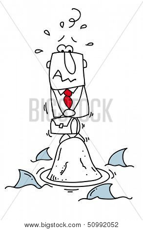 world of sharks. A businessman lost on a rock with sharks around him.