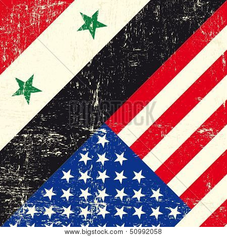 Syria and usa grunge flag. This flag represents the relationships between The usa and Syria