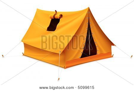 Yellow Tourist Tent For Travel And Camping