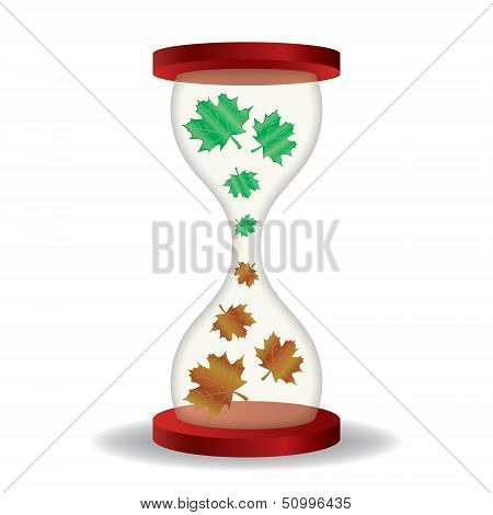 Hourglass with dry leaves
