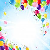 image of confetti  - Happy birthday background with balloons - JPG