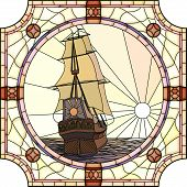 image of galleon  - Vector mosaic with large cells of sailing ships of the 17th century at sunset in round stained - JPG