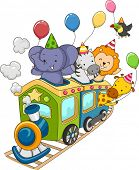 stock photo of locomotive  - Illustration of Jungle Animals Holding Party Balloons Riding a Locomotive Train - JPG
