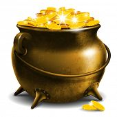 stock photo of pot  - Old pot with gold coin - JPG