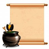 stock photo of witches cauldron  - Witches cauldron with potion and magic scroll isolated on white background - JPG