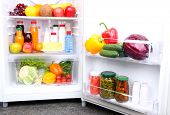 stock photo of refrigerator  - Refrigerator full of food - JPG