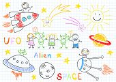 stock photo of alien  - Vector sketches with happy children - JPG