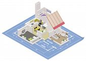 stock photo of isometric  - Vector isometric house cutaway icon - JPG