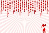 image of candy cane border  - Beaded Garland with candy cane fringe burst behind - JPG