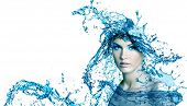 foto of purity  - Beautiful woman face with water - JPG