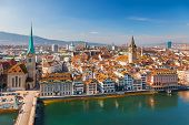 picture of zurich  - Downtown of Zurich at sunny day - JPG