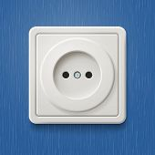 White electric socket on the wall with blue wallpaper. Raster copy
