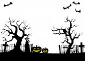 pic of cemetery  - vector illustration of scary halloween background with pumpkin on the cemetery in the dark night with full moon - JPG