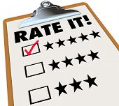The words Rate It on a clipboard with stars next to ratings or reviews, and a checkmark in a box nex