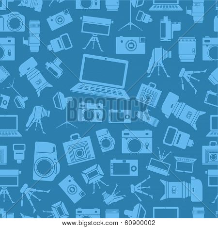 Photo equipment silhouettes blue seamless background