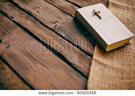 Image of the Holy Writ on wooden background