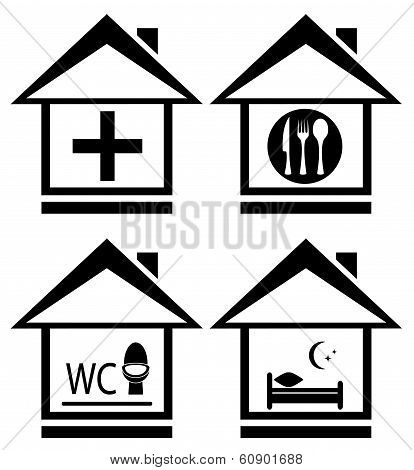 set House Icon With Medical, Wc, Food And Bed Symbols.jpg