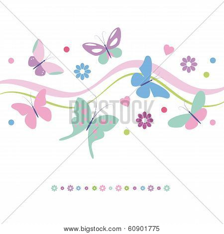 butterflies flowers and hearts card