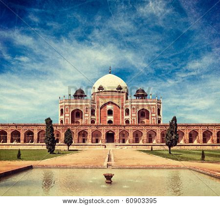 Vintage retro hipster style travel image of Humayun's Tomb with overlaid grunge texture. Delhi, India. UNESCO World Heritage Site. Frontal View