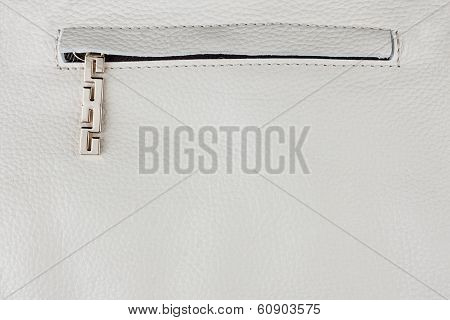 Zipper Sewn Into Natural Leather