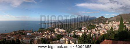 Panoramic View Of Taormina With Etna