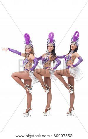 Trio of pretty Brazilian carnival dancers