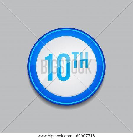 10th Circular Vector Blue Web Icon Button