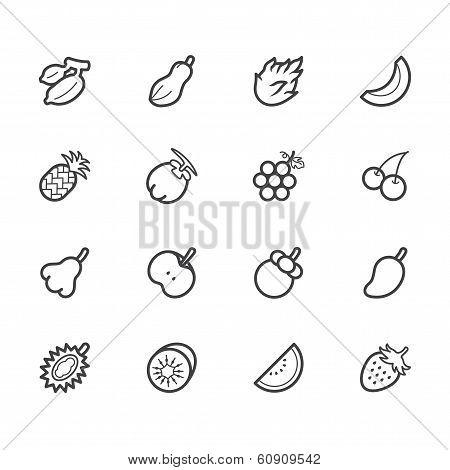 fruit vector icon set on white background