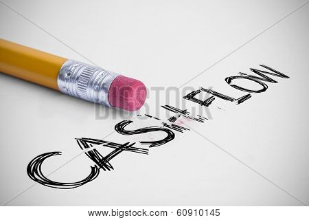 The word cash flow against pencil with an eraser