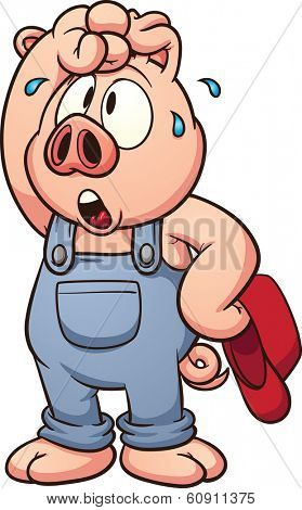 Tired cartoon pig. Vector clip art illustration with simple gradients. All in a single layer.