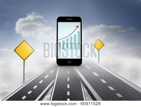 Arrows and barchart on smartphone screen against road over clouds with road signs on it