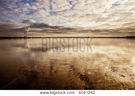 Cospudener lake at evening