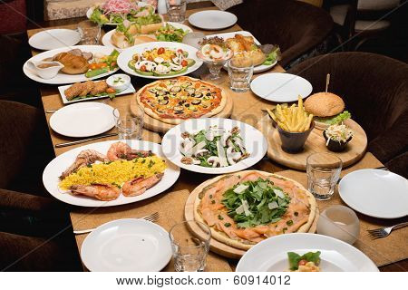 Table with various food served