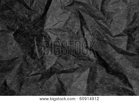 Crumpled Black Paper With Coarse Wrinkles And Fine Texture