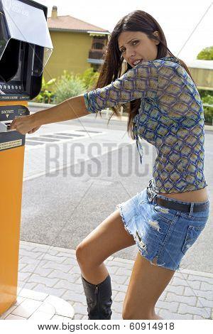 Woman Getting Money Stolen From Cash Machine