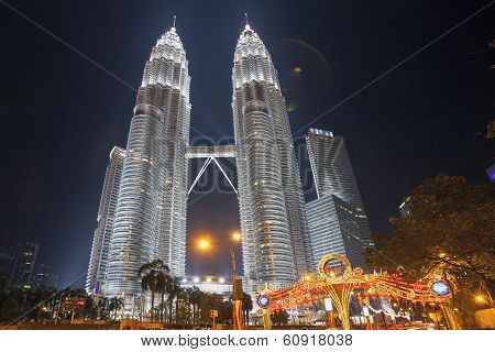 Holiday Decorations By Petronas Twin Tower At Klcc Park