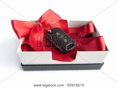 Black Car Key In A Present Box
