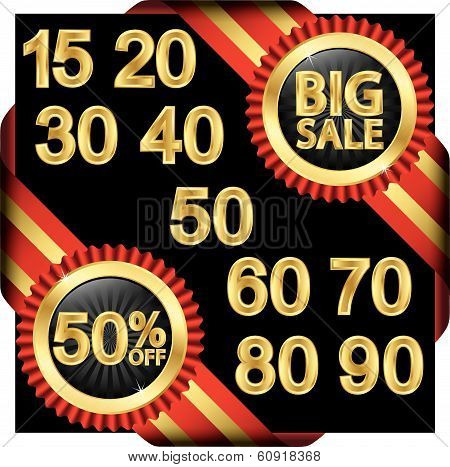 Big Sale Set, Golden Label With Ribbons, Vector Illustration