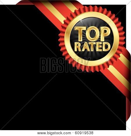 Top Rated Golden Label With Ribbons, Vector Illustration