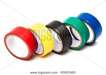 color insulating tape on white background