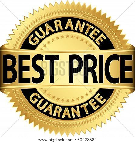 Best Price Guarantee Golden Label, Vector Illustration