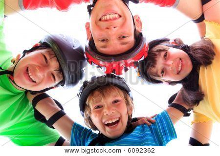 Siblings with helmets