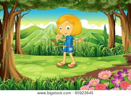 Illustration of a forest with a child playing