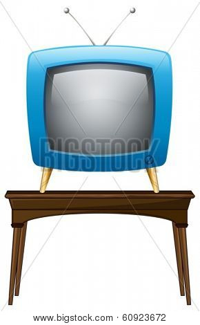 Illustration of a blue television above the wooden table on a white background