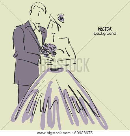 art sketched beautiful young bride and groom with the bride's bouquet. Vector background with space for text.