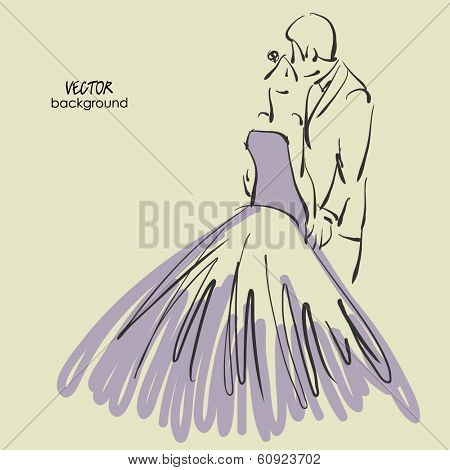 art sketched beautiful young bride and groom. Vector background with space for text.