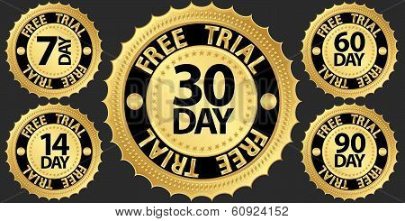 Free Trial Golden Sign Set, Vector Illustration