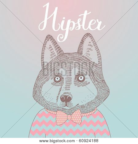 Stylish Husky hipster dog. Concept cartoon illustration in modern colors. Cute dog on seamless pattern. Childish card in vector.