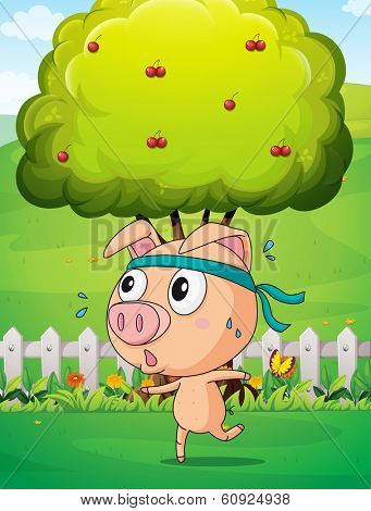 Illustration of a pig exercising near the tree